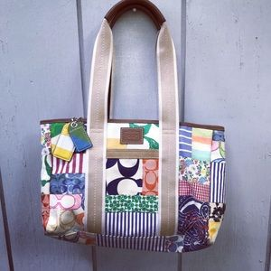 Colorful Coach Hamptons Patchwork bag with wallet